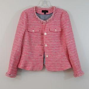 J. Crew Tweed Neon Pink Fringe Sz6 Peplum Jacket